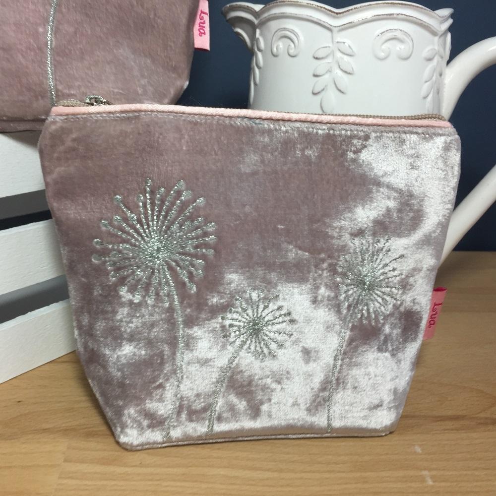dandelion velvet makeupbag small pink. dandelion velvet makeup accessories  range e236925c3f